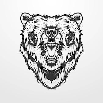 ヴィンテージ、古い古典的なモノクロスタイルのクマの頭のベクトル図。 tシャツ、プリント、ロゴ、その他のアパレル製品に適しています