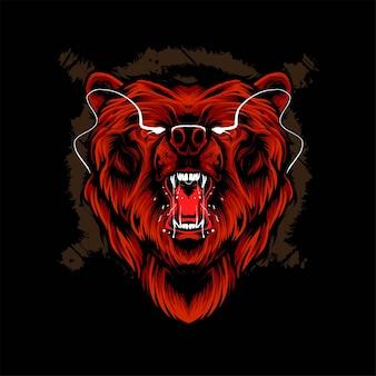Медведь голова векторные иллюстрации. подходит для футболок, принтов и одежды