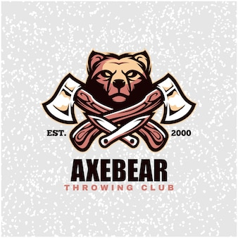 Bear head with axes and knifes, throwing club logo. Premium Vector