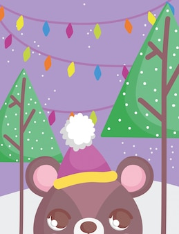 Bear head with hat merry christmas illustration