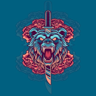 Bear head with knife and roses illustration
