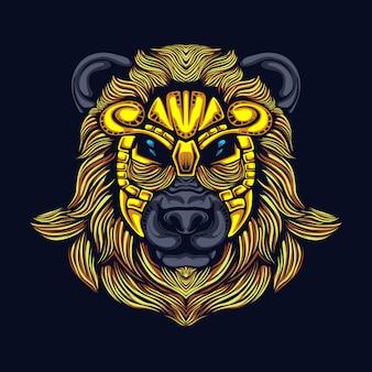 Bear head with mask illustration