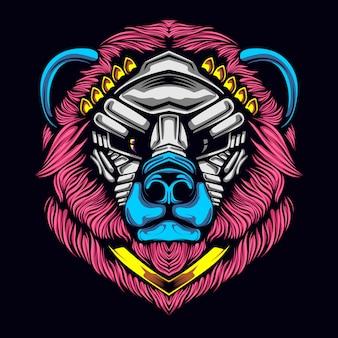 Bear head with mask