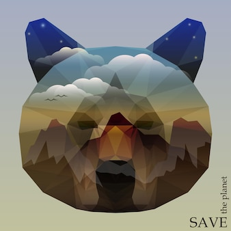 Bear head with mountains and deep blue sky with clouds and stars. concept illustration on the theme of protection of nature and animals for design card, invitation, poster, placard or banner