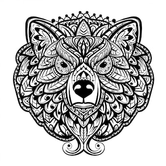 A bear head zentangle isolated on white background.