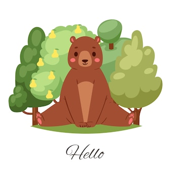 Bear hello lettering  illustration.   cute brown teddy bear character greeting, sitting among green summer trees and smiling. funny animal wildlife  for kids  on white