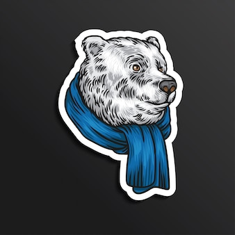Bear hello winter illustration sticker