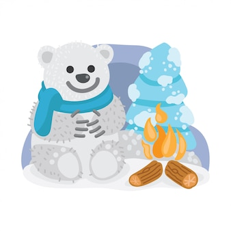 Bear hello winter illustration