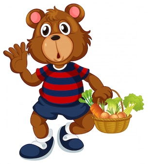 Bear holding basket of vegetable