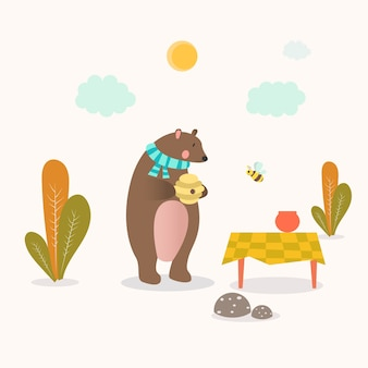 Bear and honey animal character vector illustration
