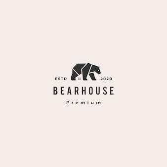 Bear house logo hipster retro vintage icon illustration