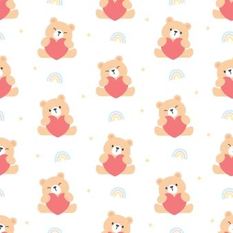 Медведь обнимает сердце бесшовный фон