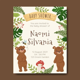 Bear illustration for baby shower card template book woodland forest
