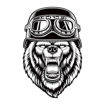 白で隔離のバイカーヘルメットのクマ