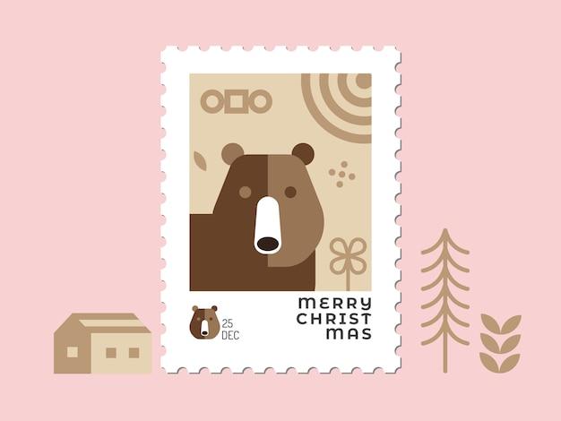 Медведь в коричневых тонах - рождественская марка плоский дизайн для поздравительной открытки и многоцелевой