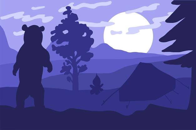 캠핑에서 곰. 숲 일몰입니다. 벡터