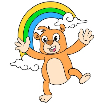 The bear is dancing happily to welcome spring with a beautiful rainbow, vector illustration art. doodle icon image kawaii.
