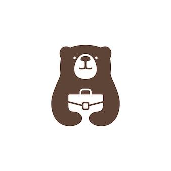 Bear job logo vector icon illustration