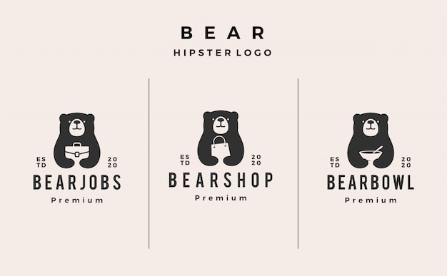 Bear job shop bowl logo icon illustration hipster retro vintage
