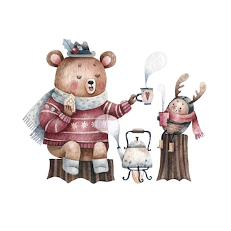 Bear and kid having tea together watercolor drawing