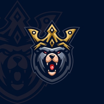 Медведь король талисман дизайн