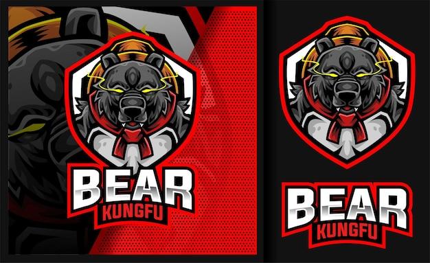 Bear kung fu master sport gaming logo