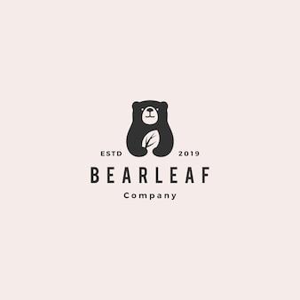 Bear leaf leaves natural nature logo
