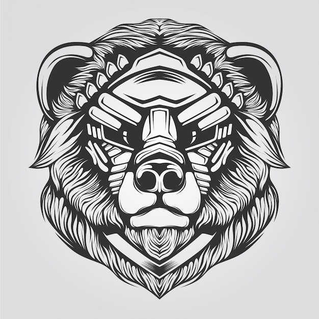 Bear line art black and white