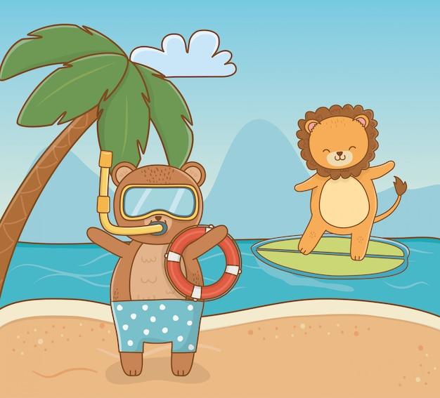 Bear and lion cartoon in summer season