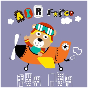Bear the little pilot funny animal cartoon,vector illustration