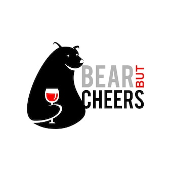 Медведь дизайн логотипа игривая печать торговые идеи рынка
