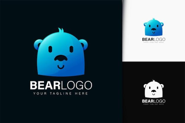 グラデーションのクマのロゴデザイン