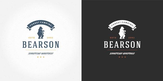 Медведь логотип эмблема векторные иллюстрации силуэт для рубашки или печати штамп. винтажный значок типографии или дизайн этикетки.