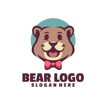 白で隔離されるクマのロゴ