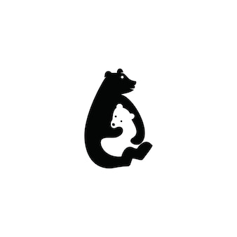 Bear logo negative space concepts template download