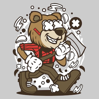 Bear lumberjack cartoon