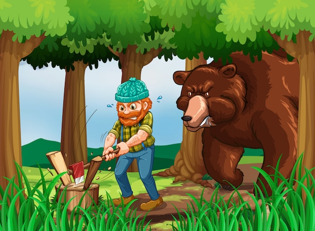 Bear and lumberjack chopping wood in the forest