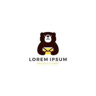 Bear mail logo message messaging teddy vector icon illustration