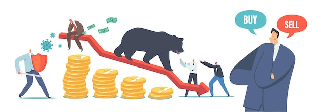 Bear market at covid-19 pandemic, stock market panic sell due to novel coronavirus. business investor characters fighting with pathogen cells and bear on drop arrow. cartoon people vector illustration