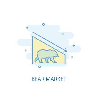 Концепция линии медвежьего рынка. значок простой линии, цветные рисунки. плоский дизайн символа рынка медведя. может использоваться для ui / ux