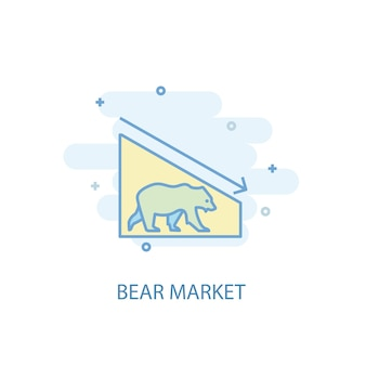 Bear market line concept. simple line icon, colored illustration. bear market symbol flat design. can be used for ui/ux