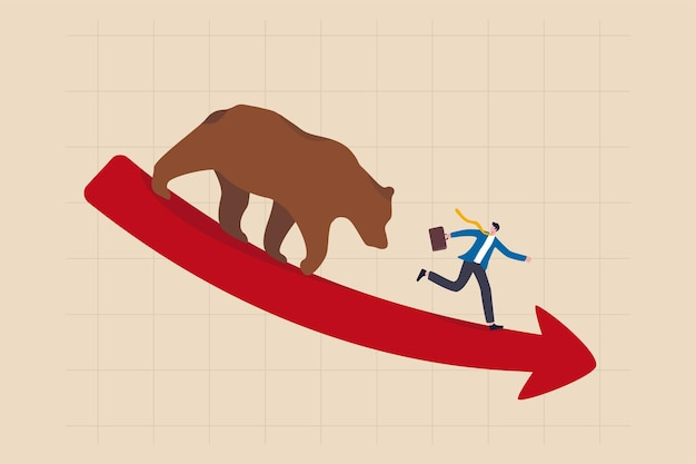 곰 시장, 경제 위기, 경기 침체 또는 거품 파열로 인한 주식 하락, 암호 화폐 가격 하락 개념, 사업가 투자자는 모든 주식을 팔고 빨간색 하락 그래프에서 곰에게서 도망칩니다.