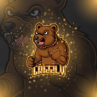 Bear mascot e sport logo design