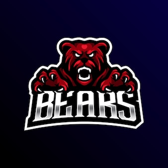 Bear mascot logo esport gaming.