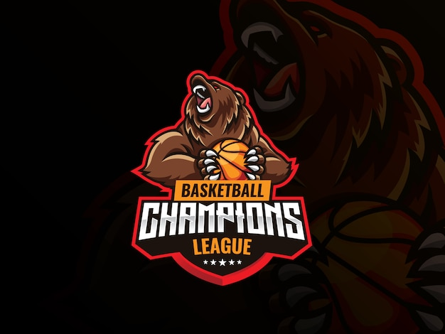 Bear mascot sport logo design. wild grizzly bear mascot vector illustration logo. angry bear mascot holding a basketball ball,