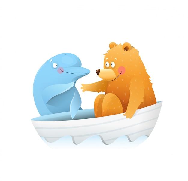 クマは海の動物のかわいい漫画でイルカに会います。