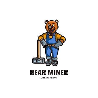 Bear miner mascot cartoon style logo