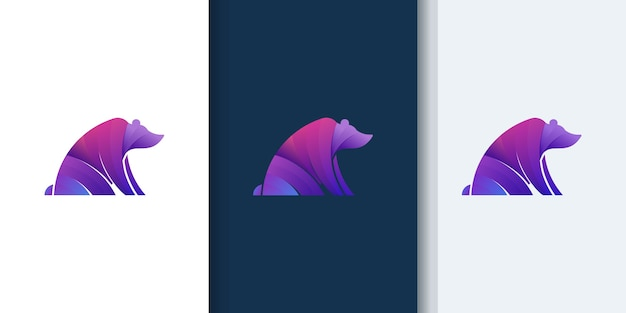 Bear modern gradient colorful logo