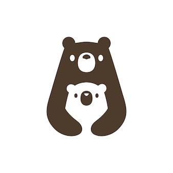 Bear mom and son cub logo   icon illustration