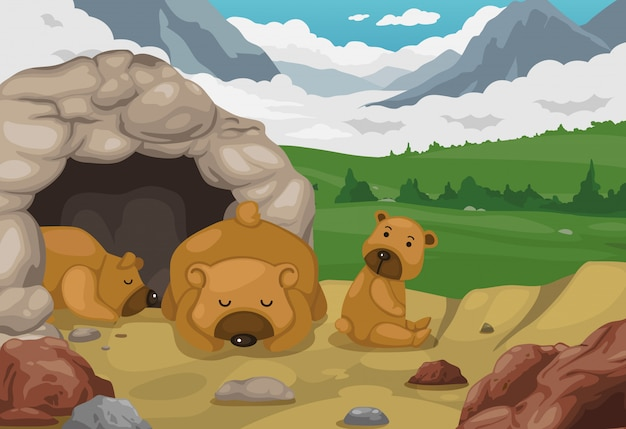 Bear on mountains landscape background vector